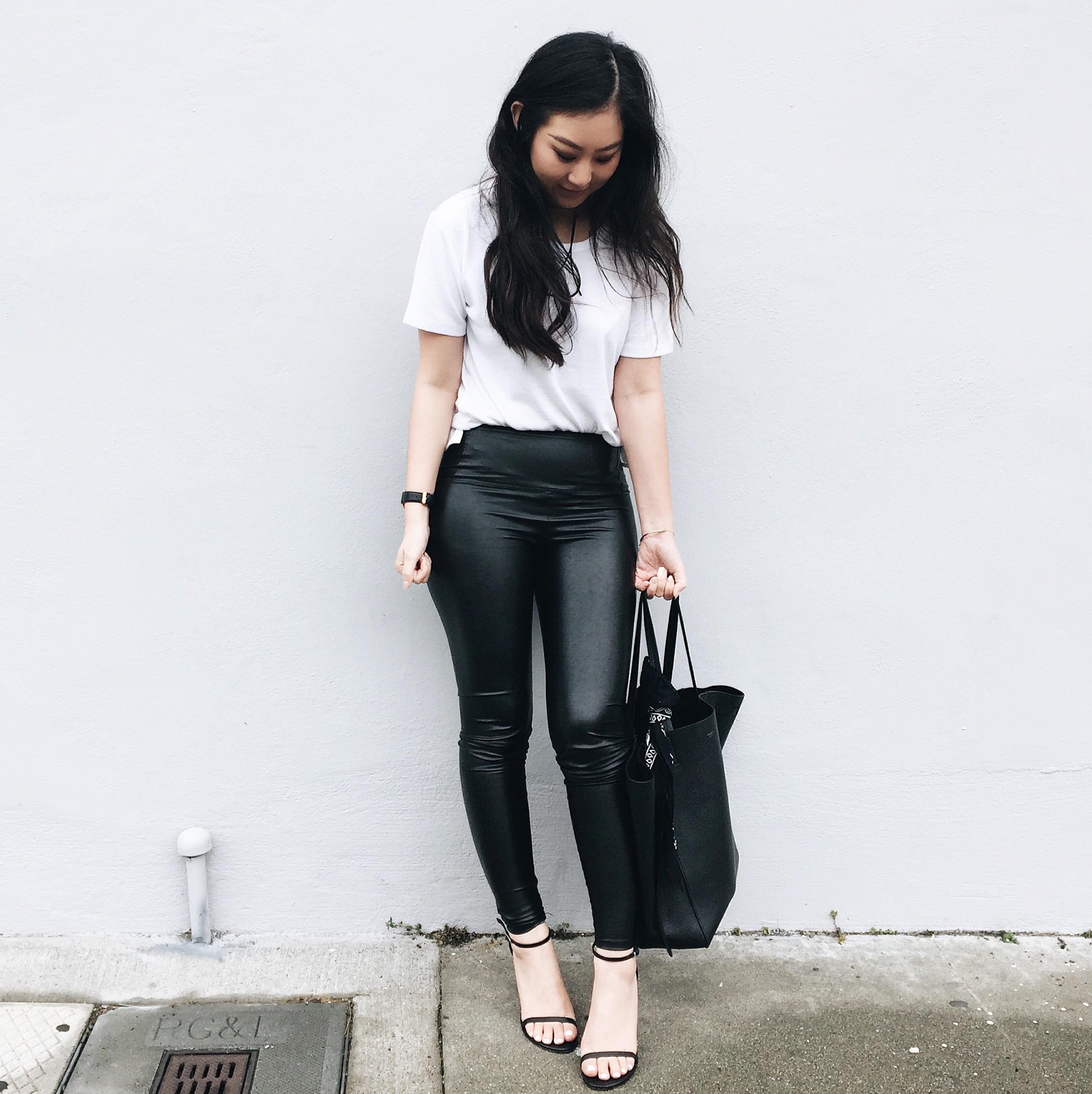ARITZIA   white tee   / ARITZIA   leather leggings   / STUART WEITZMAN   Nudistsong heels   / CELINE  Phantom tote  / ZARA  trench coat /  NOMADICSTORE   wrap choker (via Etsy)