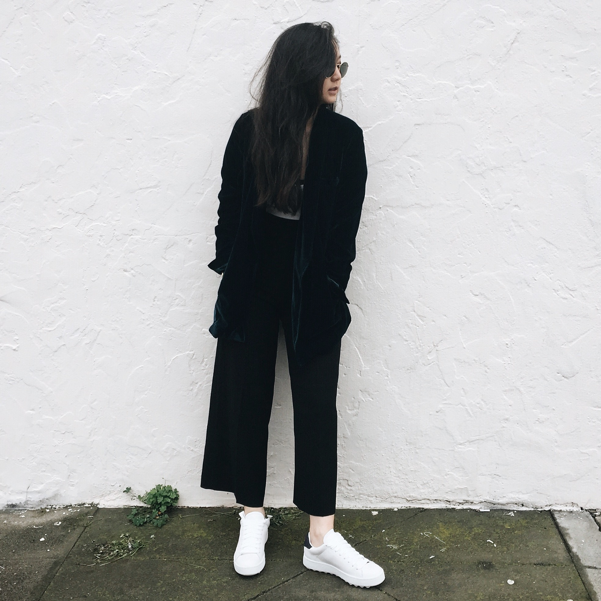 FREE PEOPLE   velvet blazer   / MANGO  culottes  / COACH   sneakers