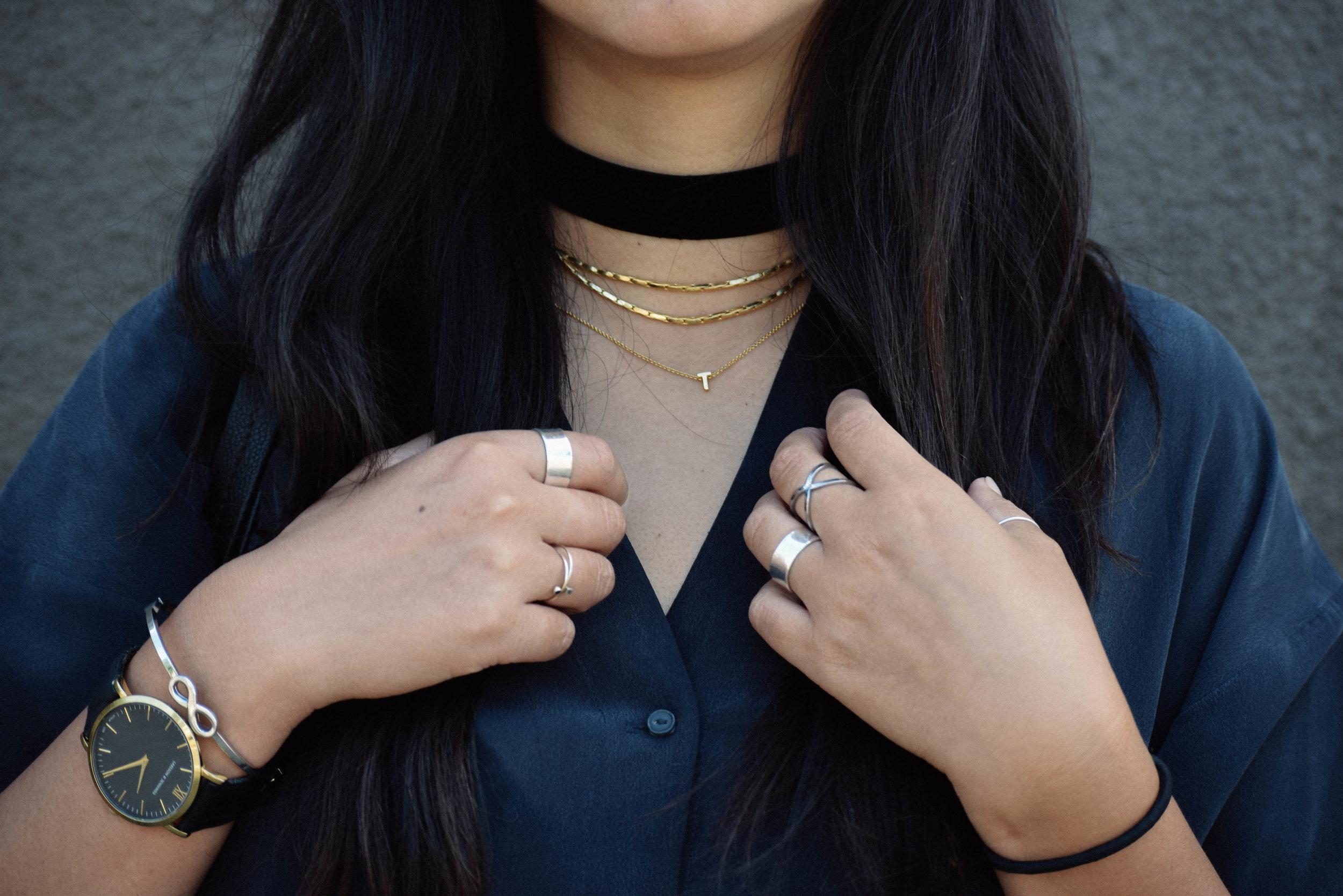 VANESSA MOONEY   choker   / LACEY RYAN   double snake choker necklace   / GORJANA  letter necklace (similar  here )