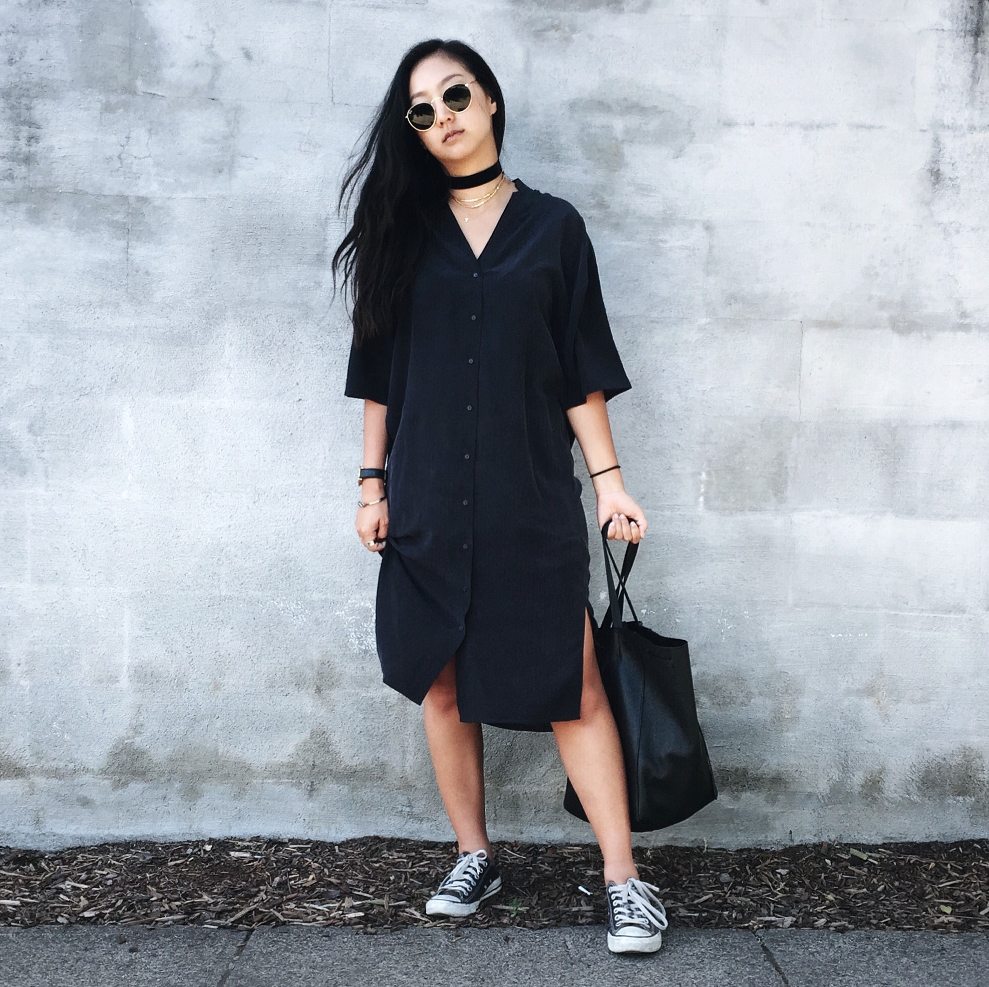 COS STORES   shirt dress   / CONVERSE   sneakers   / CELINE   tote