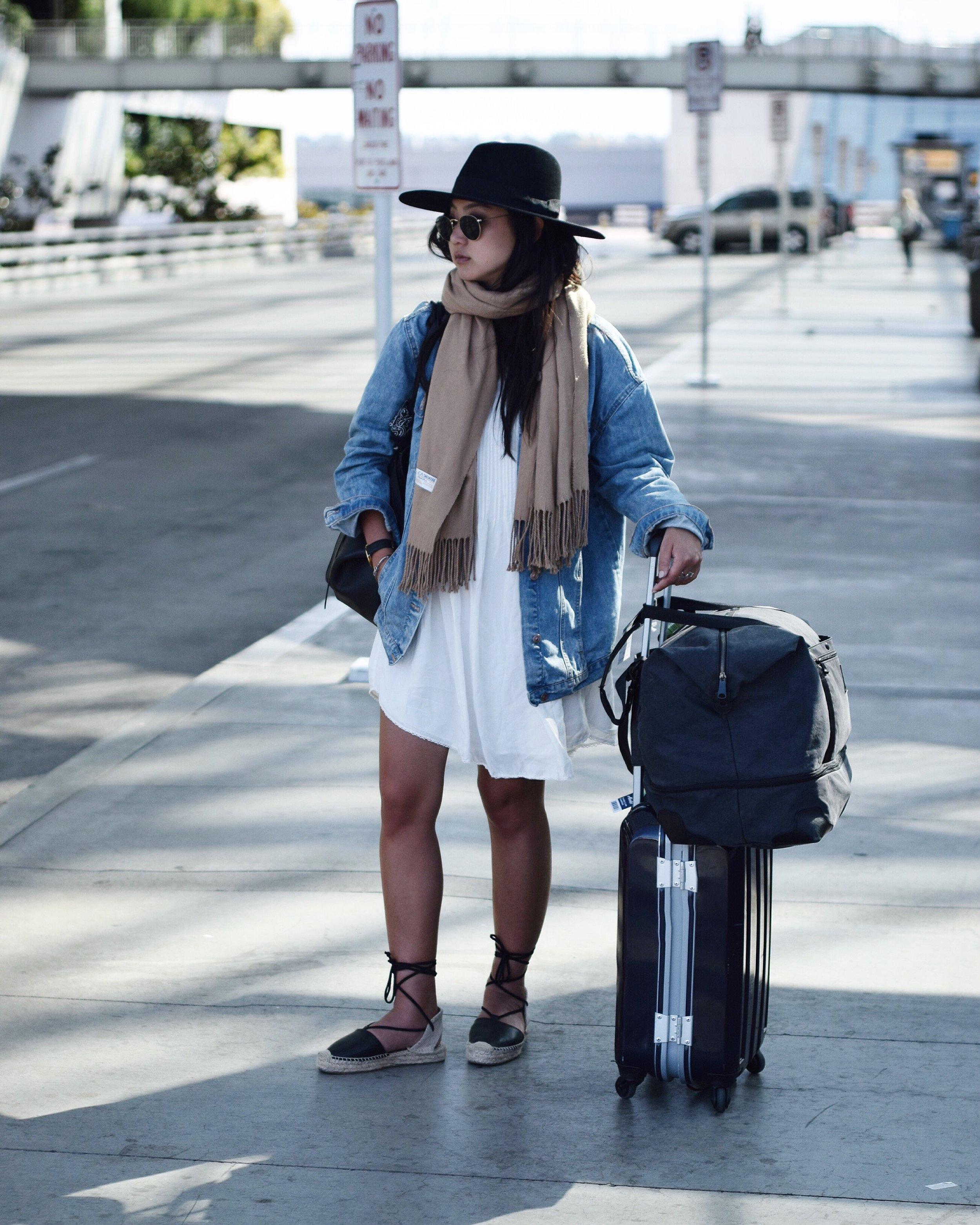 ARITZIA  dress  / ZARA  denim jacket  / SOLUDOS   sandals   / BRIXTON   hat