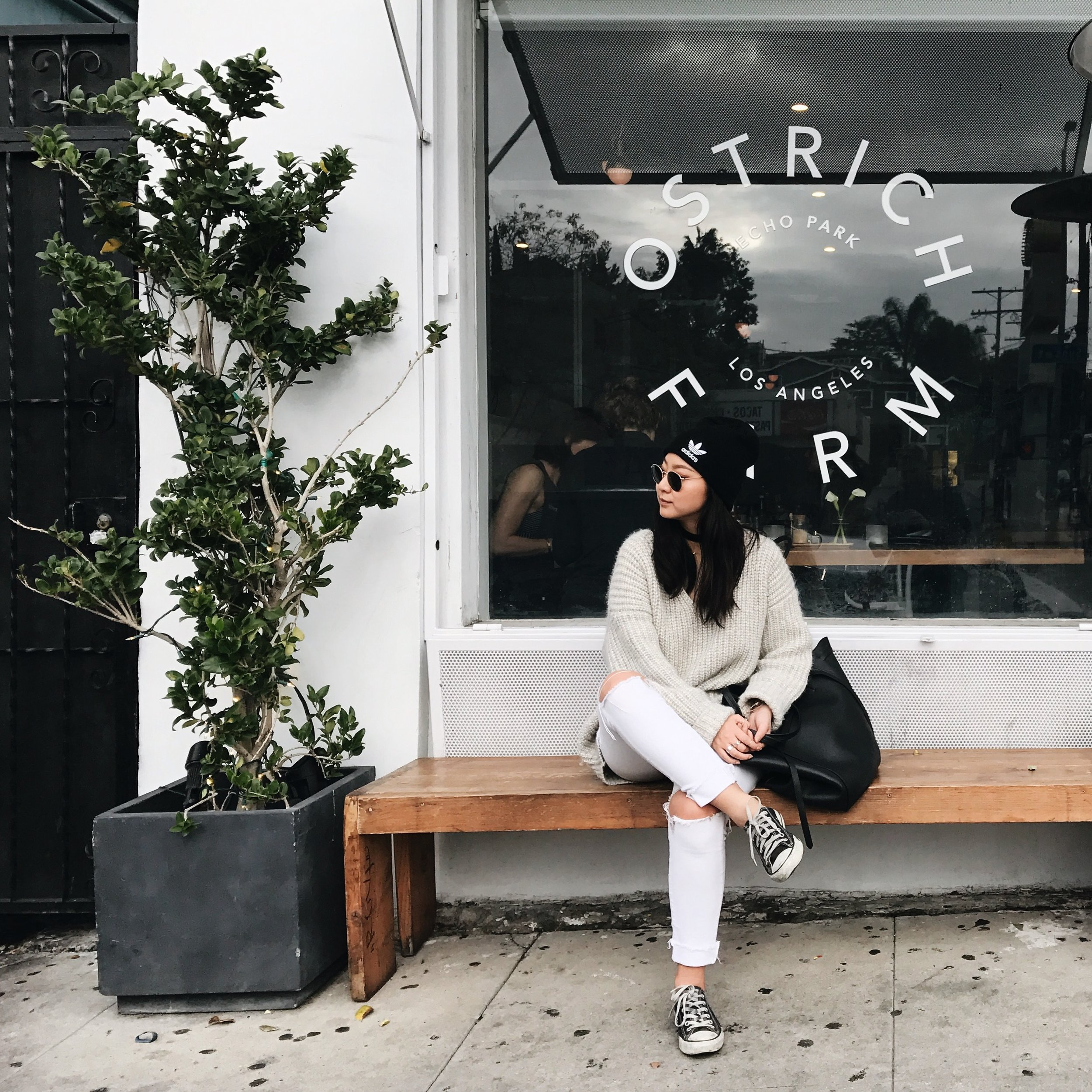 ARITZIA  sweater  / AGOLDE   jeans     / CONVERSE   sneakers     / ADIDAS   beanie