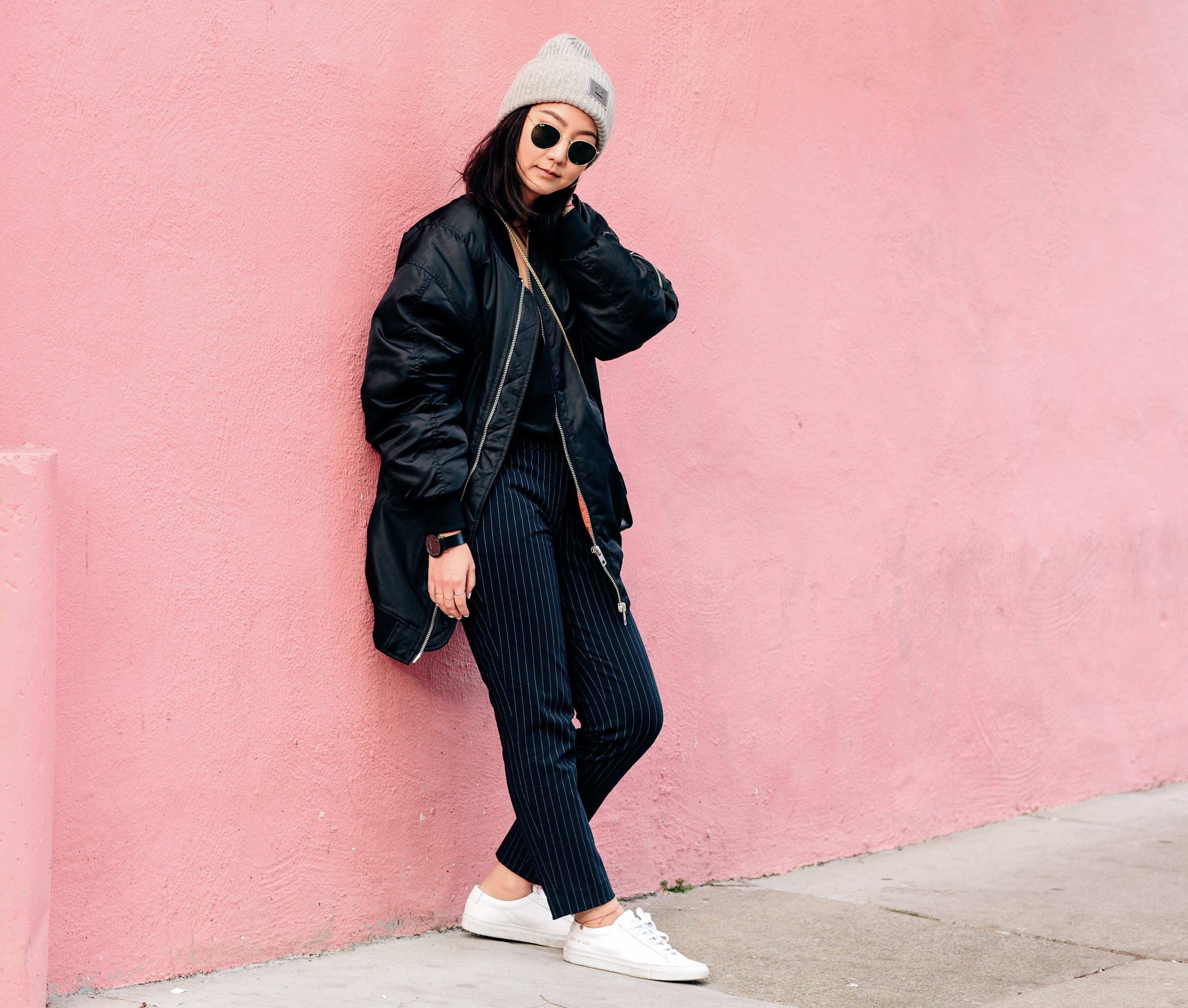 ACNE STUDIOS   pansy beanie  / ZARA   bomber jacket  / H&M   pinstripe pants  / COMMON PROJECTS   sneakers  /RAY-BAN   round sunglasses  / FURLA   bag    PHOTOS BY  JEN CHRISTO PHOTOGRAPHY