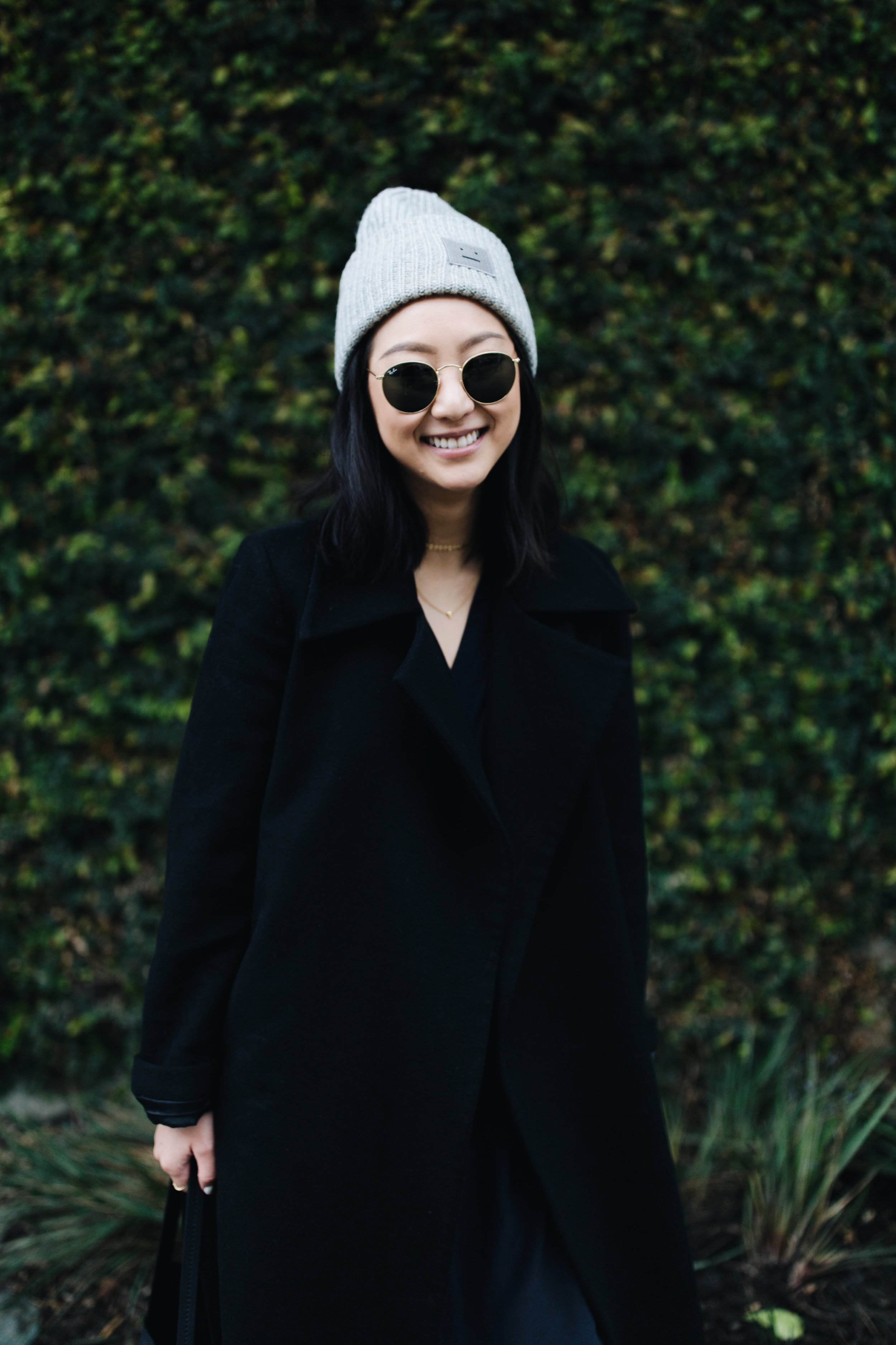 ACNE STUDIOS   beanie  / COS STORES  dress  / COMMON PROJECTS   sneakers  / CUSTOM-MADE  coat   PHOTOS BY  HAMEE HA