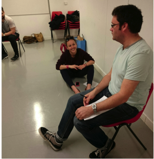 Our Production Coordinator, Sarah talks some ideas through with Scroogical Writer, Andrew
