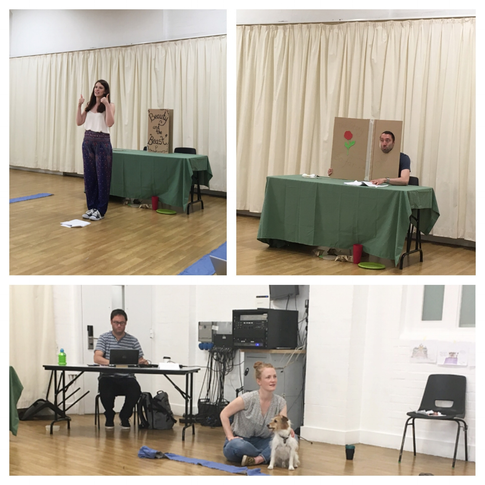 Above, our actors Elana and Craig. Below, writer Andrew, director Abi and dog Basil.