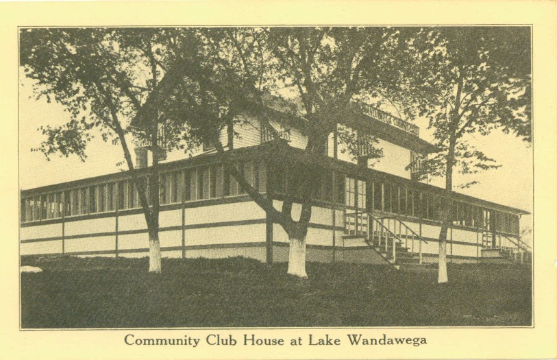 "A vintage postcard featuring the Community Club House, now known simply as ""The Club House."""