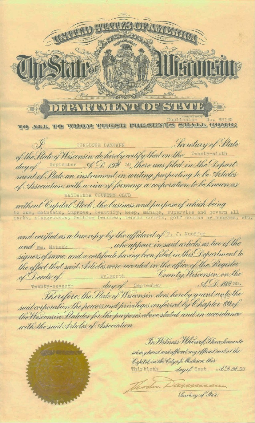 Wandawega Country Club Incorporation document from the State of Wisconsin. September 30, 1930.