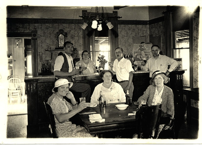 Early 1930's in the dining room at WCC clubhouse. Seated L to R - Rose Loechel, Mabel Breitenbach & Mildred Leonard. Standing L to R - Henry Vahrenwald, Elsie Spencer, Clarence Leonard & Ted Nueffer.