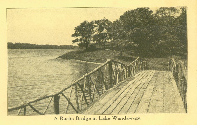 A rustic adirondack style bride where the lagoon meets the lake near the east beach from vintage postcard