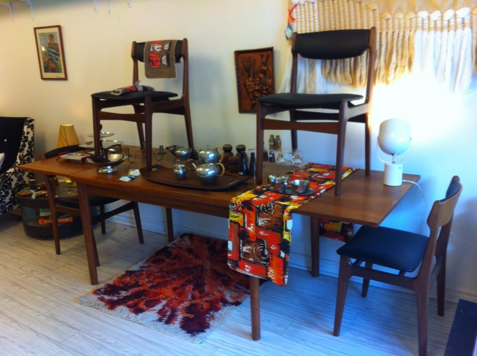 Danish teak table with 2 pull out leaves & chairs with new upholstery - $1295 for set
