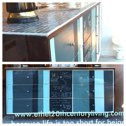 Custom painted dresser with vintage mosaic glass top - $695