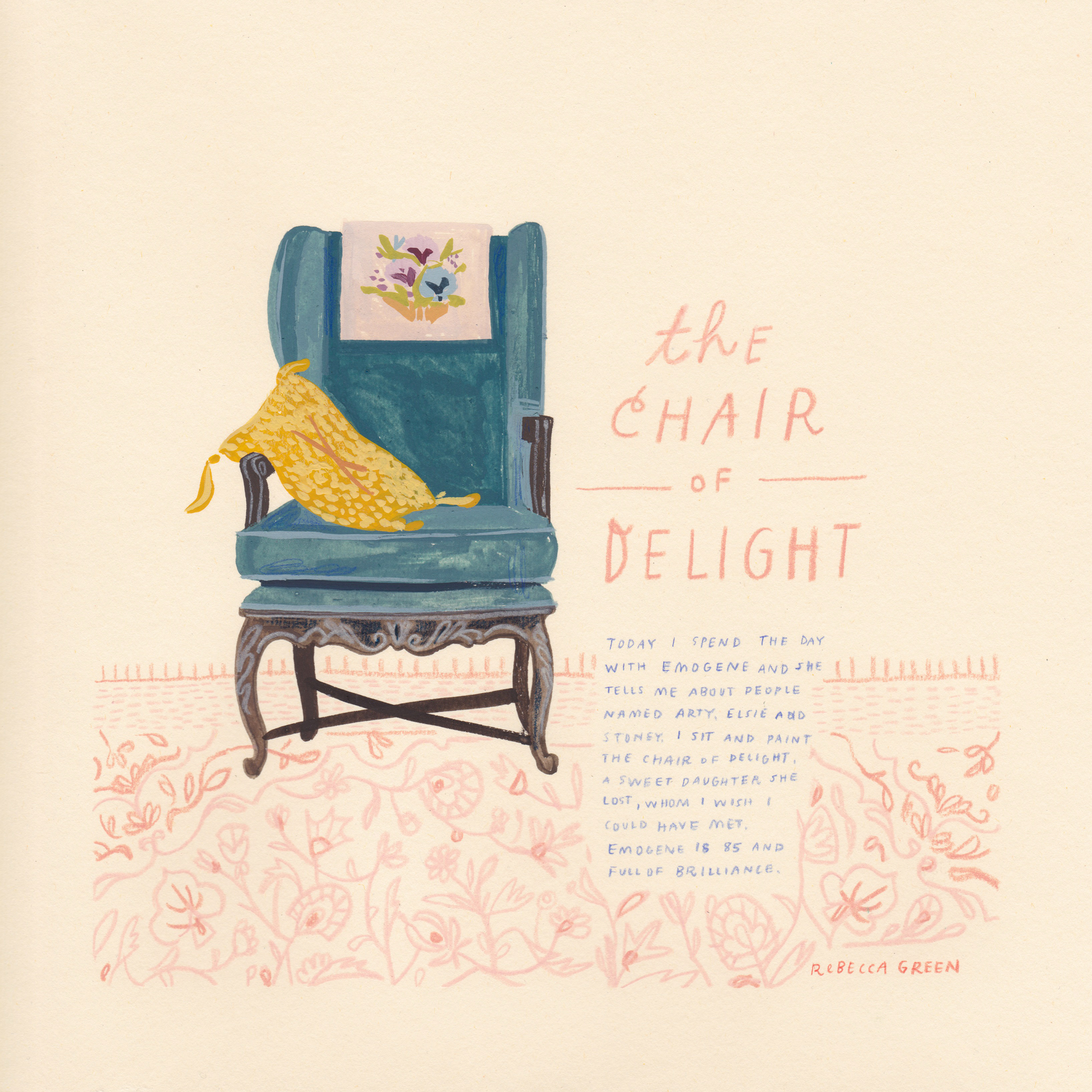 "' The Chair of Delight' 8x8"" Gouache and Colored Pencil on Paper"