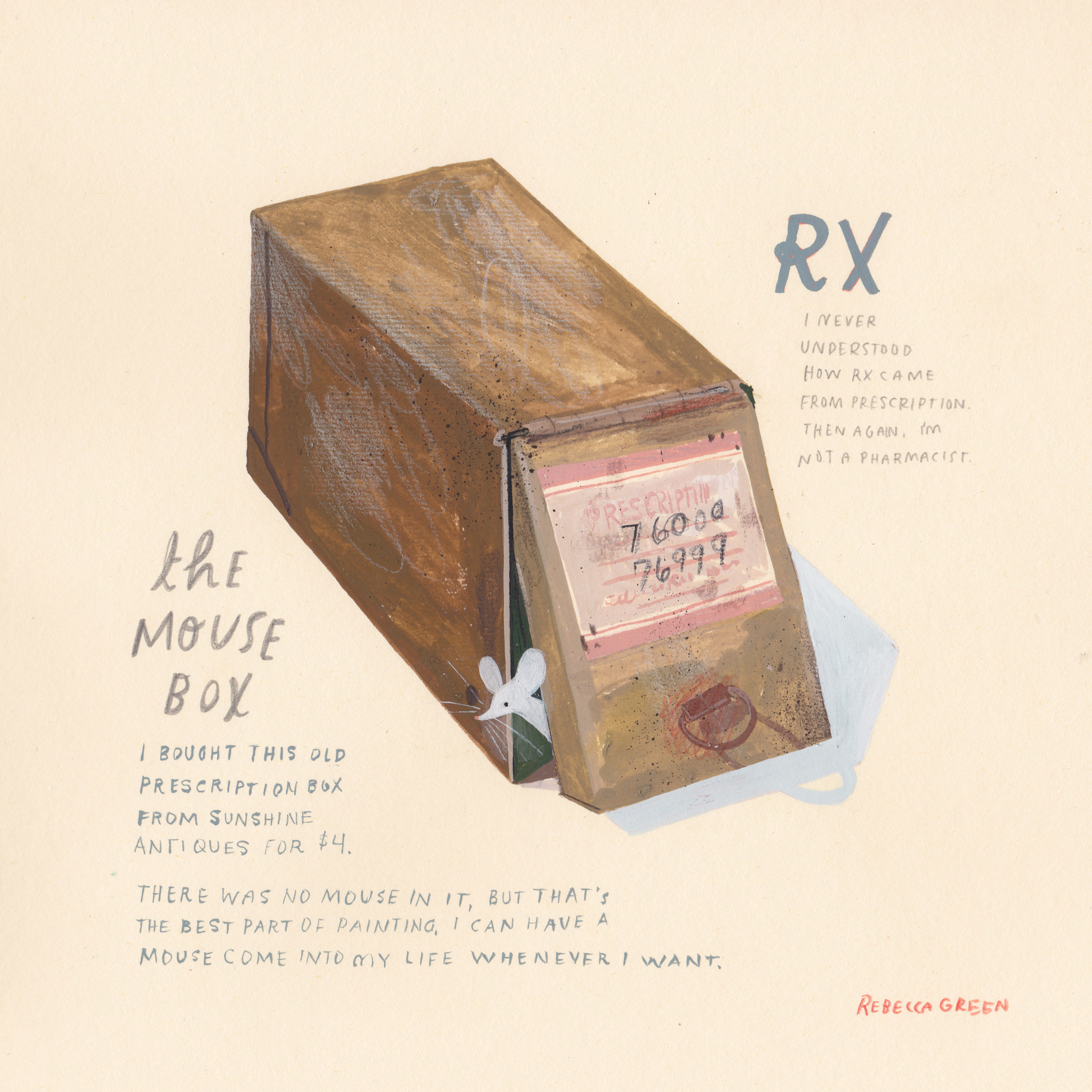 "'The Mouse Box' 8x8"" Gouache and Colored Pencil on Paper"