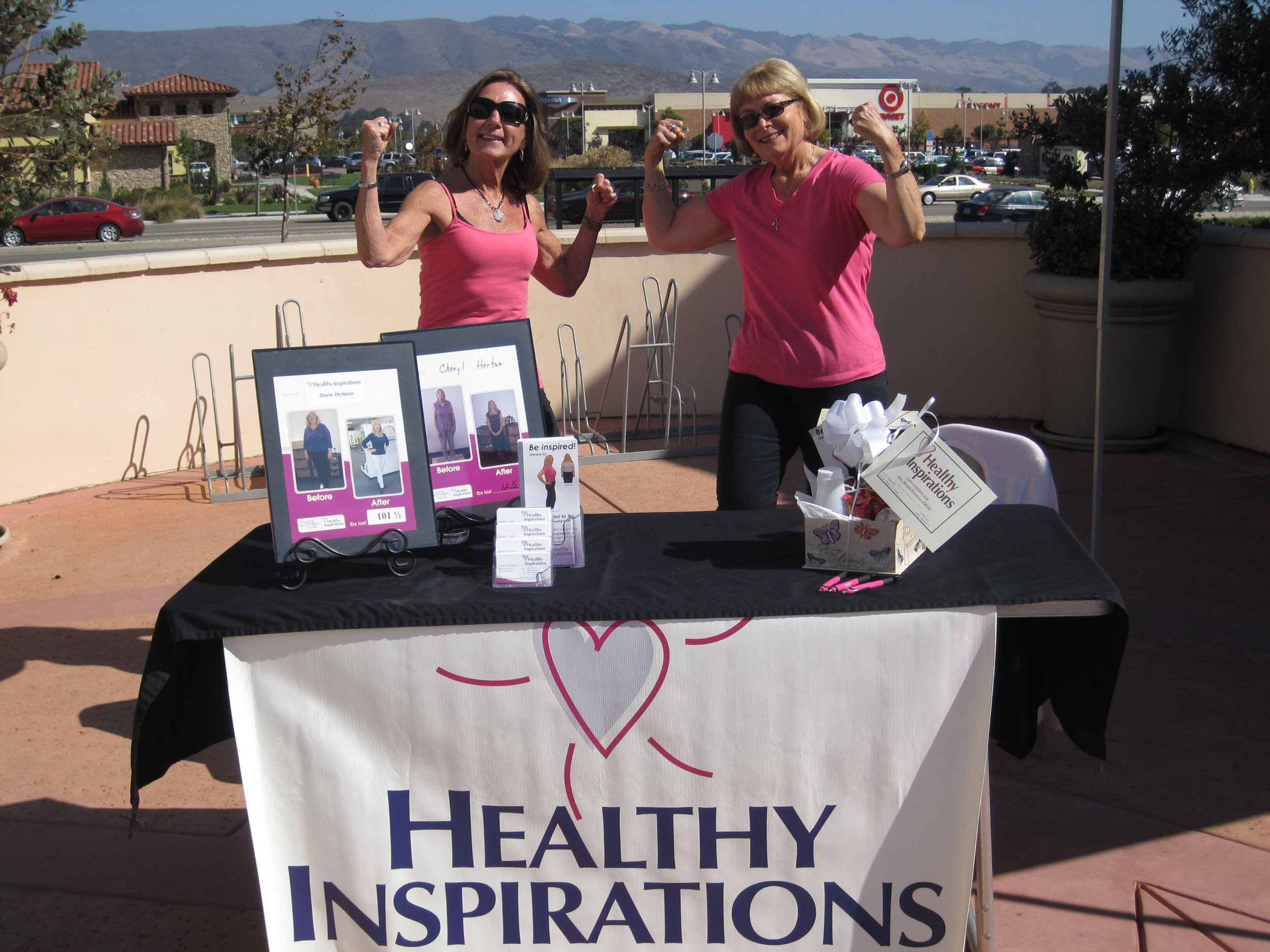 Linda Lex and Diane Etchison at the Healthy Inspirations' booth outside of The Vitamin Shoppe.