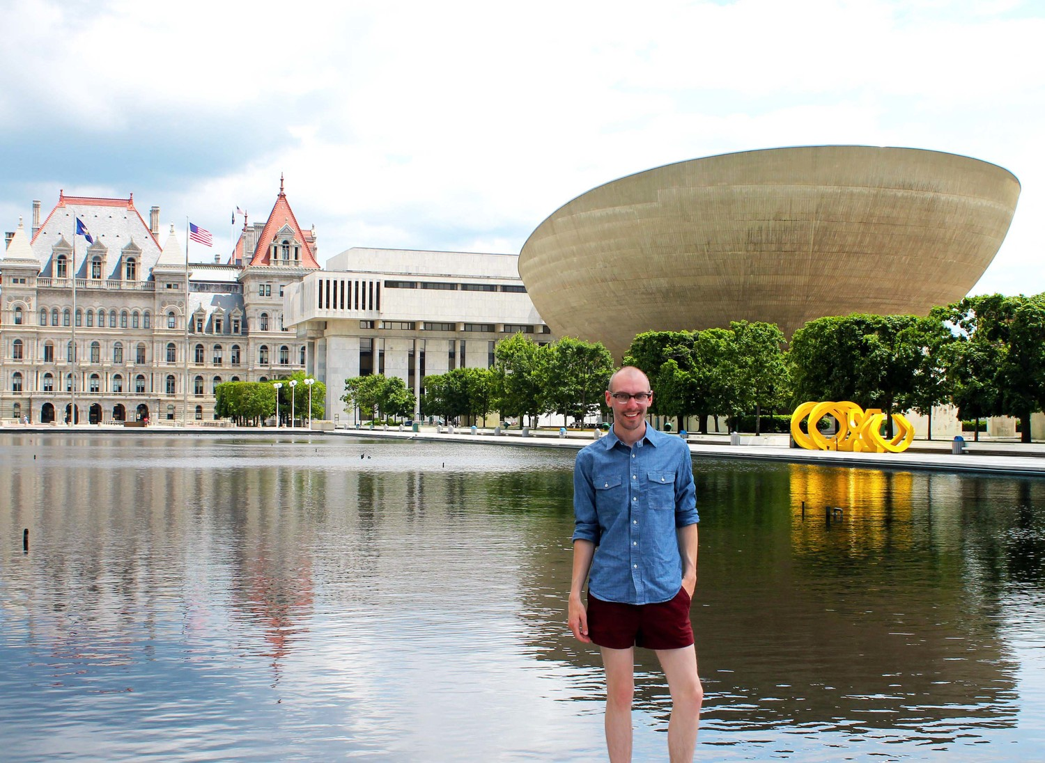 At the Empire State Plaza in Albany, NY.  Had I known about the dinner plans this would have just been a day outfit...