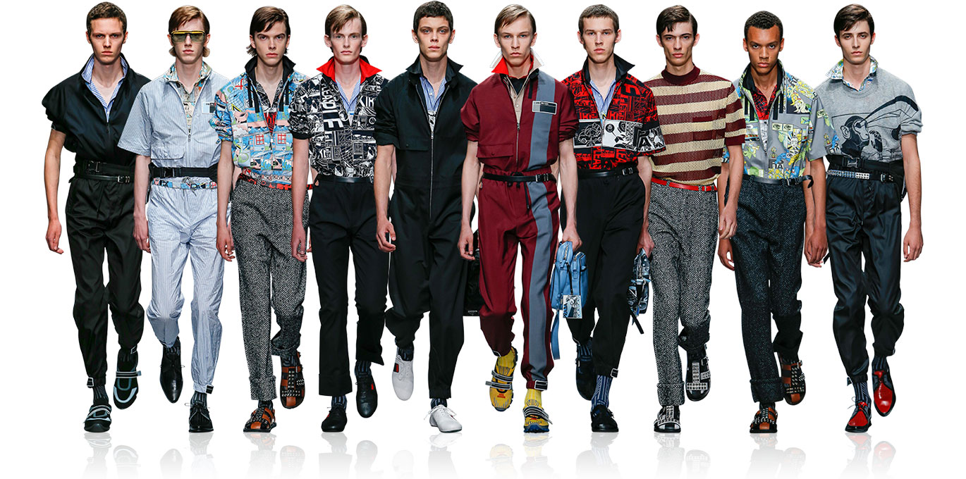 Prada: Sport's quirky younger brother. Technical fabrics & Velcro straps. Graphic lines. Comic strips. Layered items & popped collars. 80's.