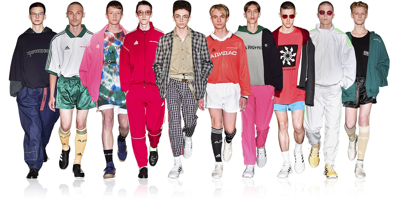 Gosha Rubchinskiy: Post-Soviet Russian teenhood. Football & electronica. Burberry. Adidas. Sportswear with a nightclub rave feeling.