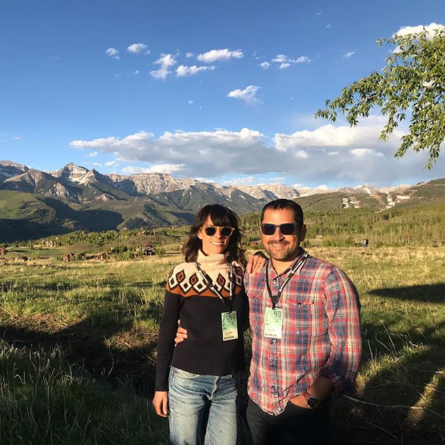 This stunning meadow and mountain backdrop is home to the #mountainfilm opening night filmmaker dinner in Telluride, Colorado. Hard to believe that there are about 500 filmmakers and film lovers eating and chatting and listening to live music in a field just behind the photographer.  Very excited to spend the weekend with this tribe, and to screen #therescuelist on Saturday evening here!  #telluride #mf2018 #colorado