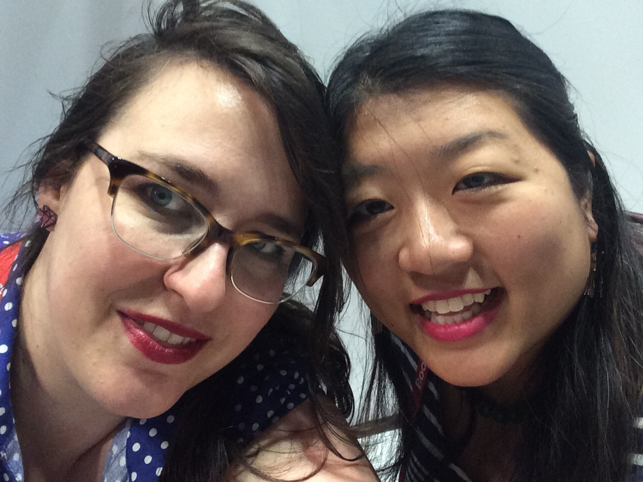 Tiff from Mostly YA Lit and I, sitting on the floor. See? Isn't she adorable?