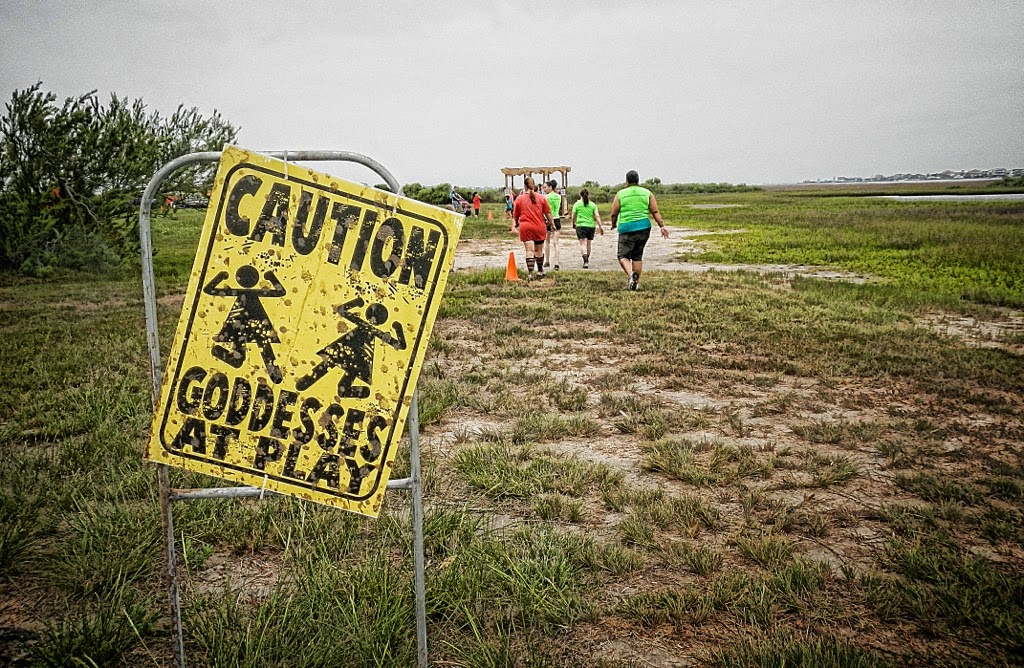 Between obstacles at the Gritty Goddess Obstacle Mud Run