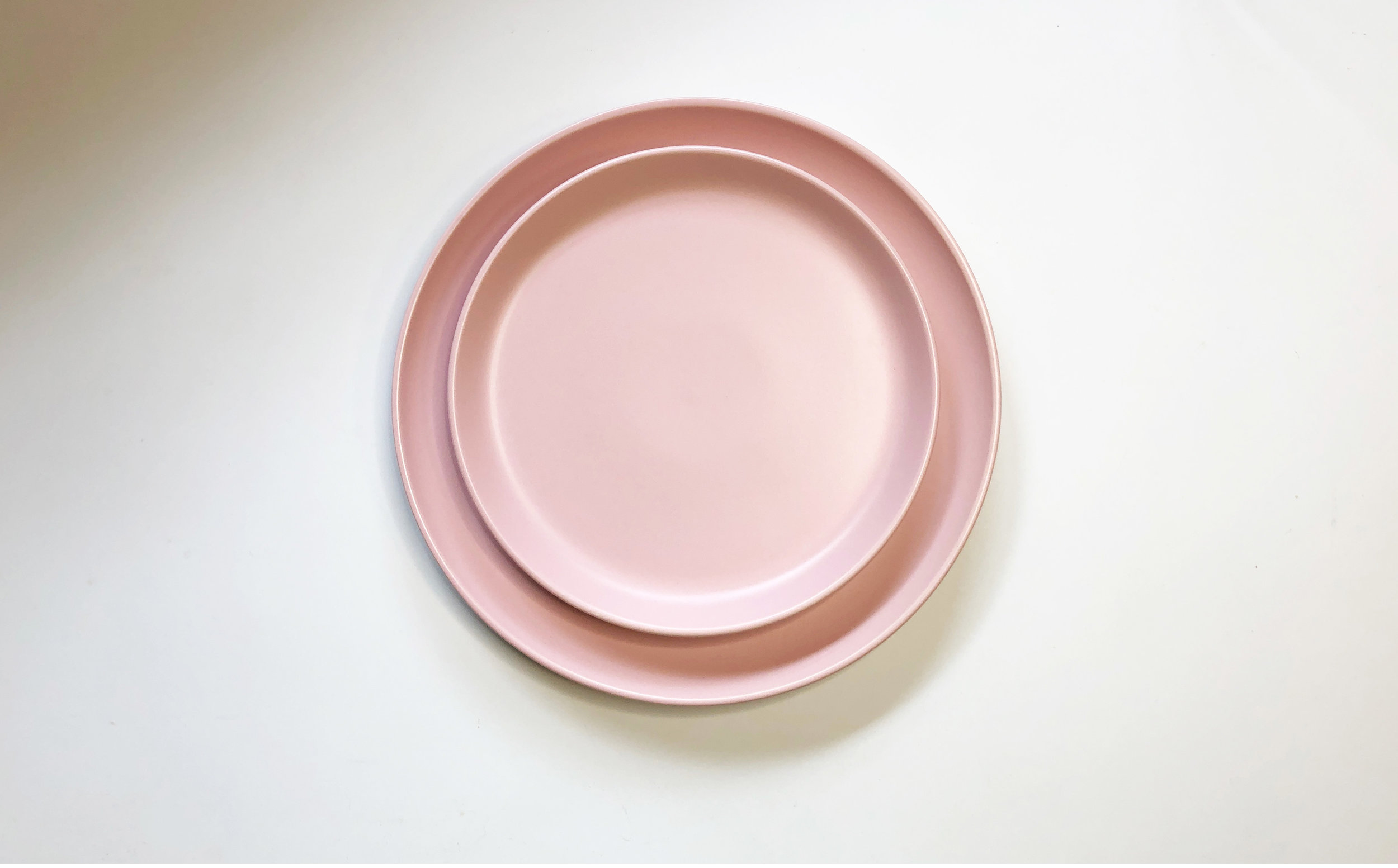 PINK STONEWARE SALAD AND DINNER PLATE