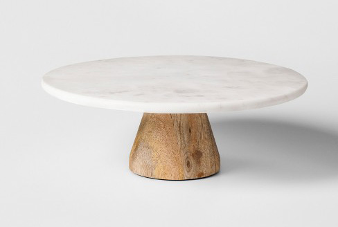 MARBLE AND WOOD CAKESTAND 12""