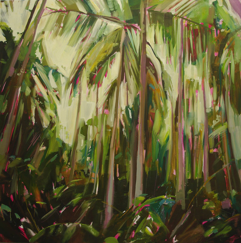 Palms 1 Oil on canvas 55.1 x 55.1 in. (140 x 140 cm) KHA000 1    •