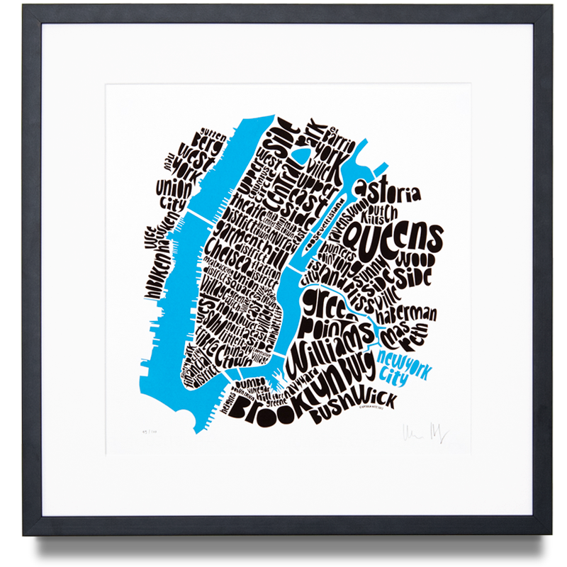 Map of New York City Central Edition Colour: Black and Blue 1st Limited Edition of 100 Screen print (Framed) 14.9 x 14.9 in. (38 x 38 cm)    ENQUIRE ABOUT THIS WORK