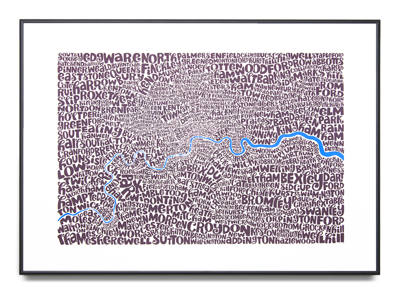 Map of Greater London Edition Colour: Velvet Blue and Miso 4th Limited Edition of 100 Screen print (Framed) 39.3 x 27.5 in. (100 x 70 cm)    ENQUIRE ABOUT THIS WORK