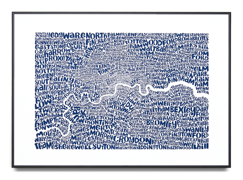 Map of Greater London Edition Colour: Royal Blue and Silver 2nd Limited Edition of 100 Screen print (Framed) 39.3 x 27.5 in. (100 x 70 cm)    ENQUIRE ABOUT THIS WORK