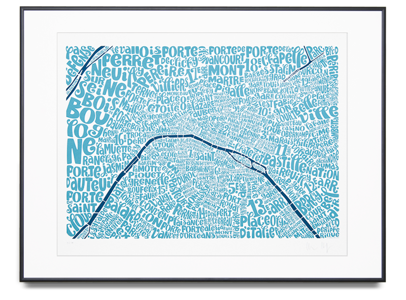 Map of Paris Edition Colour: Sea Blue and Dark Blue Limited Edition of 100 Screen print (Framed) 29.9 x 22 in. (76 x 56 cm)    ENQUIRE ABOUT THIS WORK