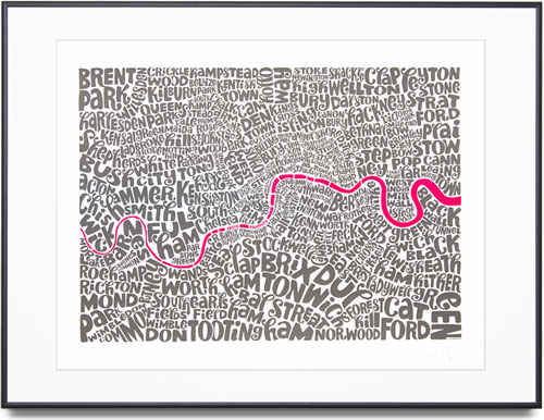 Map of Central London - Medium Edition Colour: Fluorescent Pink and Grey Limited Edition of 100 Screen print (Framed) 29.9 x 22 in. (76 x 56 cm) UHI0025