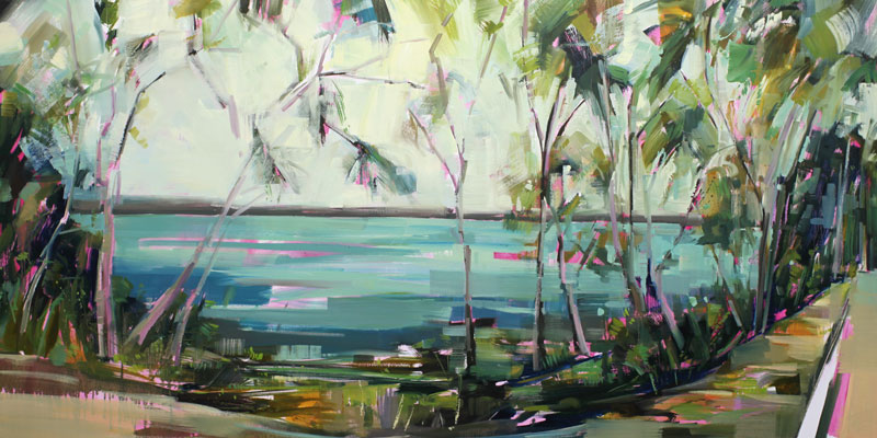 Edge of Water Oil on canvas 78.74 x 39.3 in. (200 x 100 cm) KHA0014  ENQUIRE ABOUT THIS WORK