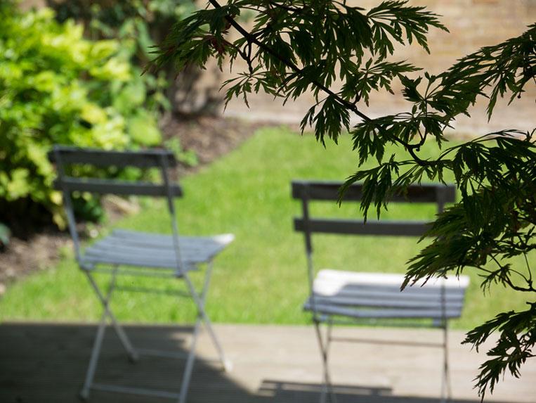 Relaxing landscaped garden