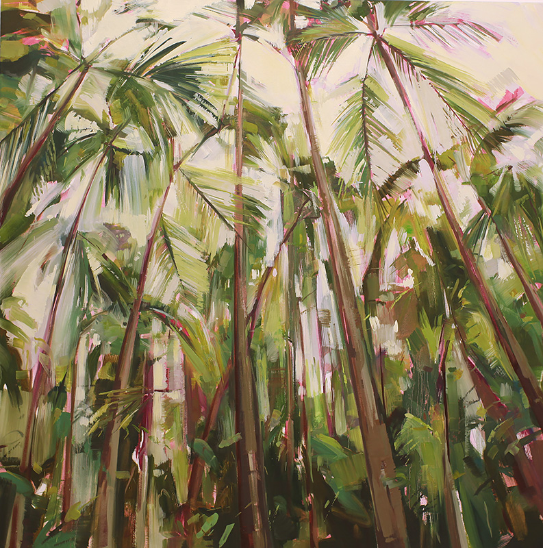 Palms 2 Oil on canvas 51.1 x 51.1 in. (130 x 130 cm) KHA0012  ENQUIRE ABOUT THIS WORK