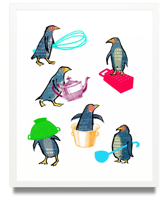 Penguins Limited Edition of 50 Pigment ink on archival paper (Framed) 15.7 x 19.6 in. (40 x 50 cm) JPO0154 £115.00   ENQUIRE ABOUT THIS WORK