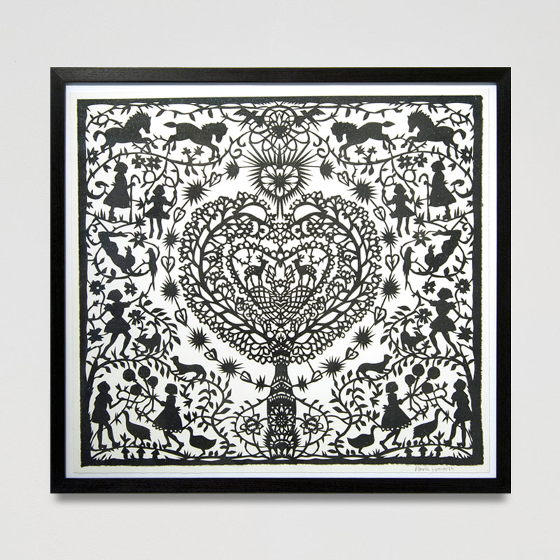 Days of Glory Paper Cut (Framed) 24.6 x 22.8 in. (62.5 x 58 cm) AHO0029  ENQUIRE ABOUT THIS WORK