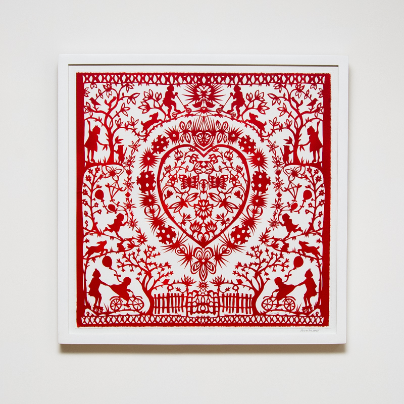 Strawberry Hill Paper Cut (Framed) 23.4 x 23.4 in. (59.5 x 59.5 cm) AHO0034  ENQUIRE ABOUT THIS WORK