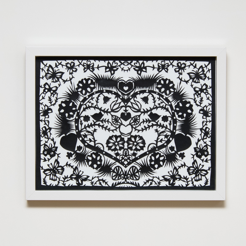 Beautiful Heart Paper Cut (Framed) (33 x 43 cm) AHO0041  ENQUIRE ABOUT THIS WORK