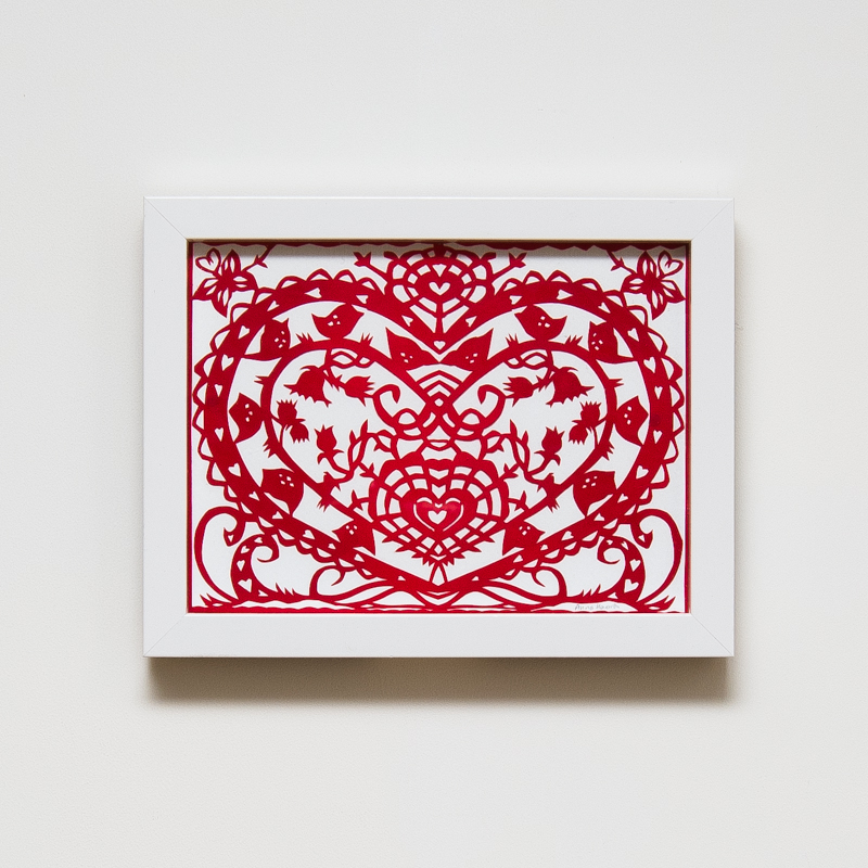 Bed of Hearts Paper Cut (Framed) (33 x 43 cm) AHO0036  ENQUIRE ABOUT THIS WORK