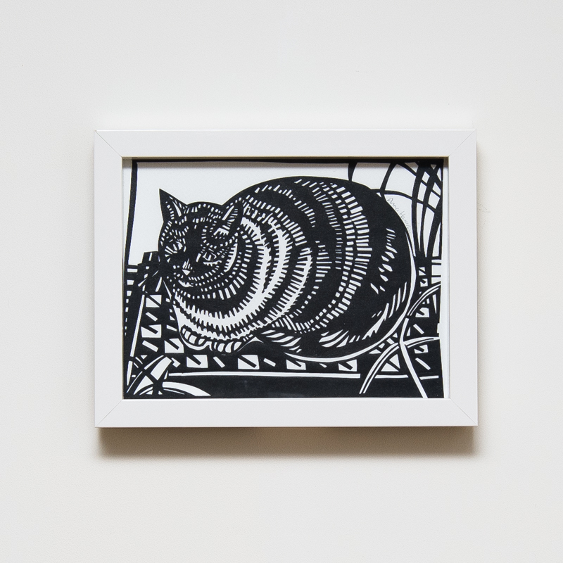 Bowden's Cat Paper Cut (Framed) (33 x 43 cm) AHO0035  ENQUIRE ABOUT THIS WORK