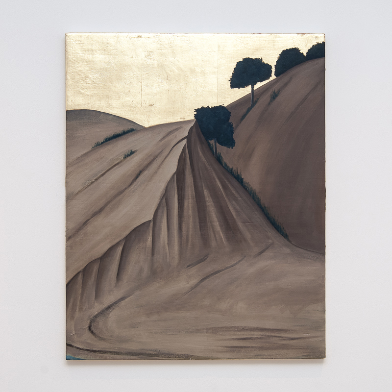 Landscape Without Umilta's Departure (after Pietro), 2008 Oil, metal leaf and pigment on gesso panel 60 x 48 cm 23 5/8 x 18 7/8 in HSI0003  ENQUIRE ABOUT THIS WORK