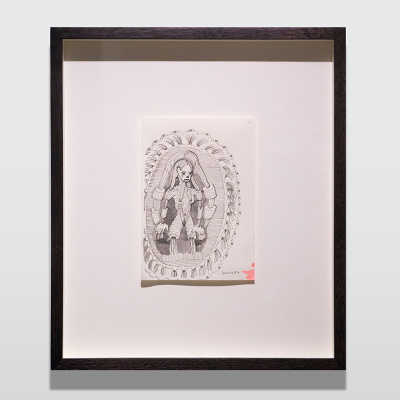 Hairietta, 2014 (Framed)   Marker on 85g Palatina Fabriano  29 x 25 cm 11 3/8 x 9 7/8 in  MST0011   ENQUIRE ABOUT THIS WORK