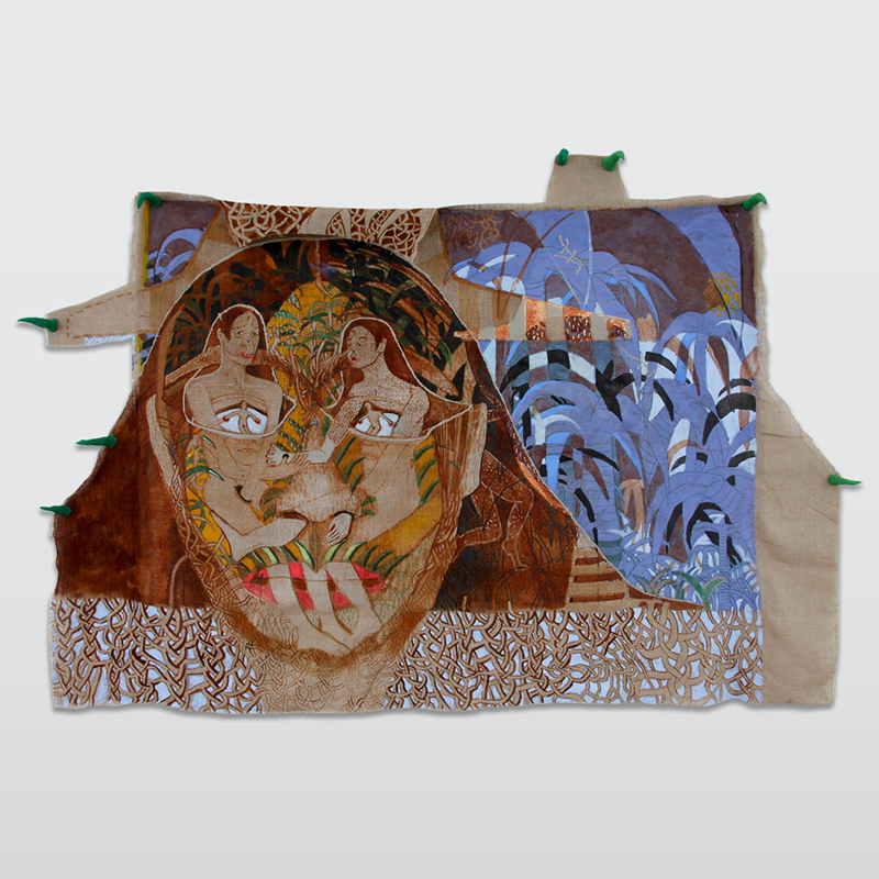 Twin face suit (the palm tree version, 2013 Ink, acrylic, oil and plasticine on linen 150 x 219 cm 59 1/8 x 86 1/4 in MST0002  ENQUIRE ABOUT THIS WORK