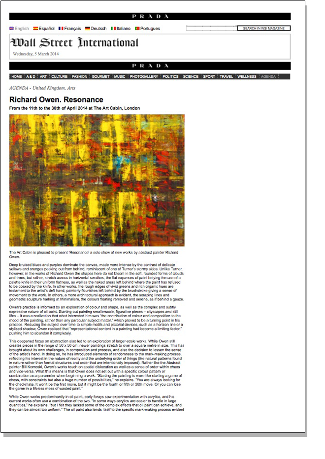 RICHARD OWEN RESONANCE   Wall Street International   April 2014