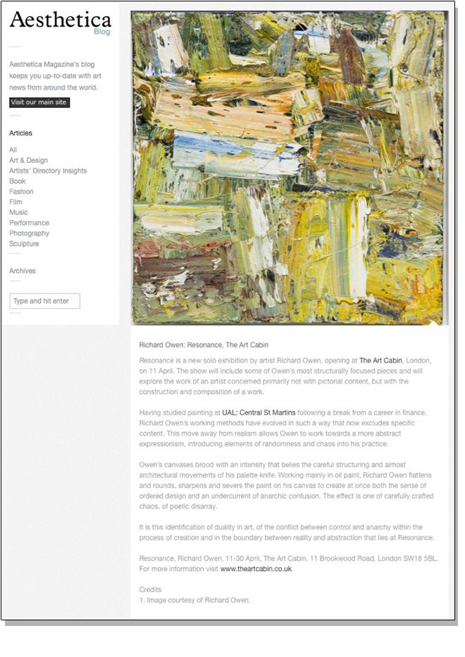 RICHARD OWEN RESONANCE   Aesthetica   April 2014