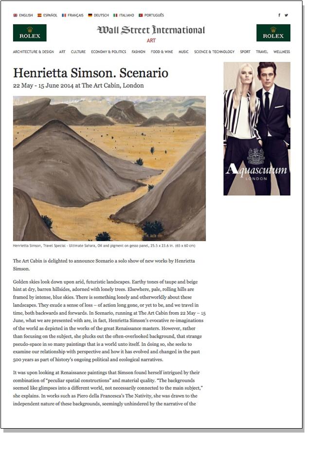 HENRIETTA SIMSON SCENARIO   Wall Street International   May 2014