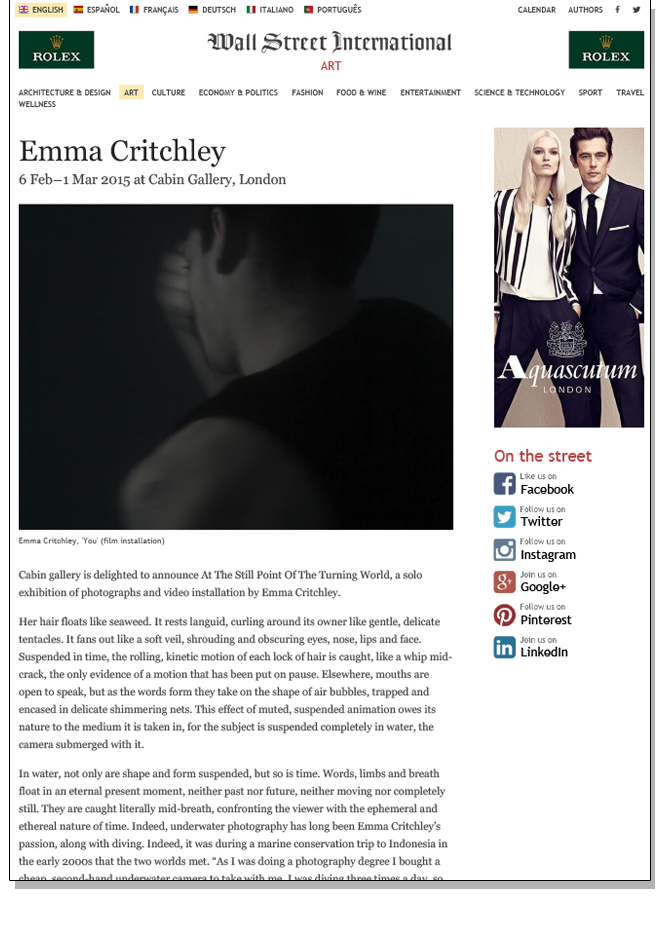 EMMA CRITCHLEY AT THE STILL POINT OF THE TURNING WORLD   Wall Street International   February 2015