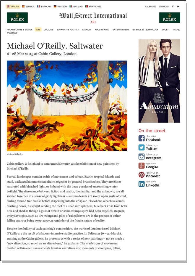 MICHAEL O'REILLY SALTWATER   Wall Street International   March 2015